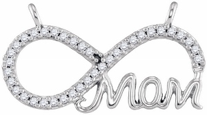 "0.20 CTW Diamond Fashion Mom Necklace-This stylish and subtle ""mom"" mother's infinity diamond pendant sparkles with crisp diamonds set in sleek 10 karat white gold as it hangs from an 18 inch chain included."
