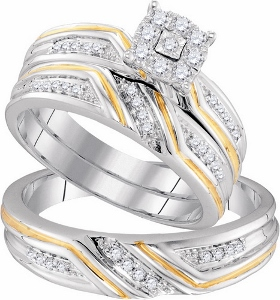 0.34 ctw Diamond Fashion Trio Set--Gifts of romance exchanged between lovers, the elegant rings featured in this trio ensemble are set in cool, sparkling 10K two tone gold. Round diamonds are set in the  band  are sure to cherish your love of togetherness for a lifetime with diamonds totaling 0.34 CTW.