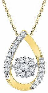 0.16 ctw Diamond Fashion Pendant in 10 Karat Yellow Gold with matching Yellow Gold Chain