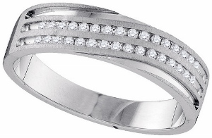 0.25CTW DIAMOND MACHINE SET BAND-A lifetime of happiness starts with sweet wedding vows. Seal your commitment to him with a 10 karat white gold wedding band that is just his style. Emitting pristine brilliance at the center, the  diamonds in an invisible-like setting totaling 0.25 carats reflect light within the white gold band.