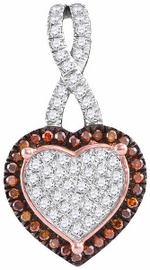 0.25CT ROUND DIAMOND LADIES HEART PENDANT WITH 18