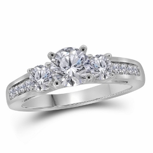 1.25 c.t.w Diamond Engagement Ring With 0.75 c.t Center Round Cut Diamond and two 0.20 c.t Round Side Diamonds.
