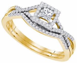 0.33 C.T.W Diamond Bridal Set in 14 Karat Yellow Gold