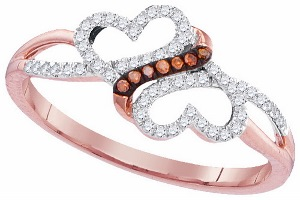 0.16 c.t.w Diamond Micro Pave Heart Ring in 10 Karat Rose Gold.