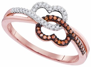 0.16 c.t.w Diamond Micro Pave Double Heart Ring in 10 Karat Rose Gold