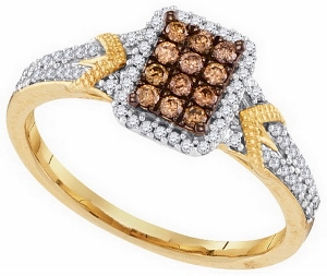0.33CTW COGNAC DIAMOND MICRO-PAVE RING
