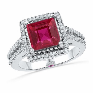 0.33 c.t.w Diamond and 2 c.t Lab created Ruby Ring in 10 Karat White Gold