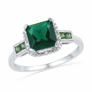 0.012CTW DIAMOND AND 2.20CT-LAB CREATED EMERALD RING