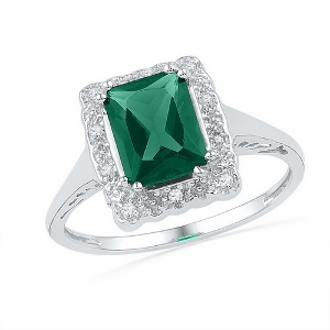 1/20 ctw Diamond with 1.75 ctw lab created Emerald Ring.