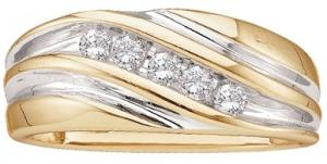 0.25 CTW ROUND DIAMOND MEN'S BAND -A lifetime of happiness starts with sweet wedding vows. Seal your commitment to him with a 10 karat two-tone gold wedding band that is just his style. Emitting pristine brilliance at the center, five round diamonds in an invisible-like setting totaling 1/4 ct. reflect light within the white gold band. Completing the look, warm yellow gold barriers display intriguing contrast along the edging.