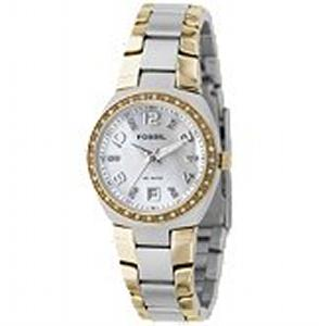 This two-tone watch is a classic accessory that you can wear anywhere. The silver-tone dial is set in a sleek stainless steel case with crystal and gold-tone accents. The two-tone interlocking strap is comfortable and has a streamlined, modern style. Comes with an 11-year manufacturers' warranty and is packaged in a collectible tin. Water resistant up to 10 ATM.
