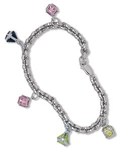 Multi Color Square CZ Cube Dangle Rolo Link Bracelet