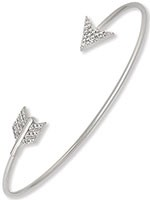 Sterling Silver Open Arrow Bangle with Clear CZ's