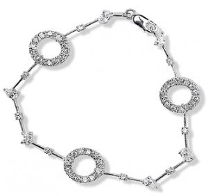 Bracelet with Circles and Multi-Shaped White CZ