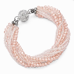 Pink and Clear Austrian and Czech Crystal with Glass Beads Bracelet