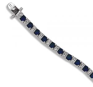 Sapphire Colored CZ and Clear CZ Sterling Silver Bracelet