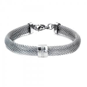 Women's Stainless Steel Mesh Polish Finished Bracelet with CZs.