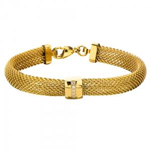 Women's Stainless Steel Gold IP Mesh Polish Finished Bracelet with CZs.