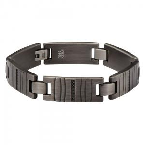 en's Stainless Steel Gun Metal Finish Link Bracelet with Modern Gem Lines.