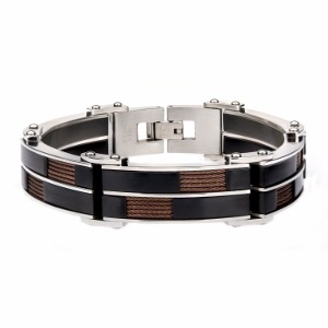 Men's Stainless Steel Alternate Black IP and In lay Brown Cable Link Bracelet. 8 1/2 inch long.