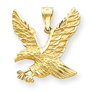 14 Karat Gold Eagle Charm                   -                                                     Rising above adversity, the majestic eagle is a symbol for a man of action, a man of integrity. This charm in  14KT gold  features the handsome eagle crafeted in yellow gold which can also be used as a pendant.