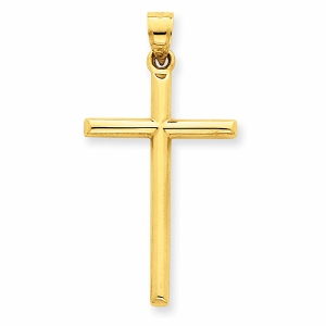 14k Polished Hollow Cross Pendant