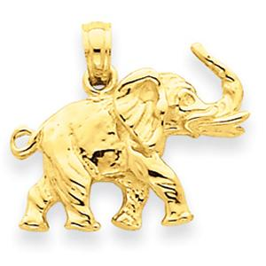 14 Karat Gold Elephant Charm                  --                                                Elephant the symbol of Luck. Give your loved ones all the good luck and best wishes they deserve with this unique charm crafted in 14 KT yellow gold , can also be used as pendant.