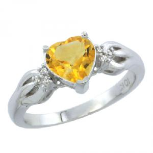 14k White Gold Ladies Natural Citrine Ring Heart 1.5 ct. 7x7 Stone Diamond Accent