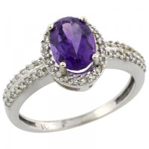 10k White Gold, Halo Engagement Amethyst Ring with Brilliant Cut Diamonds & Oval Cut Stone