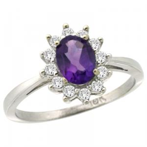 10k White Gold Halo Engagement Amethyst Ring with Brilliant Cut Diamonds & Oval Cut Stone