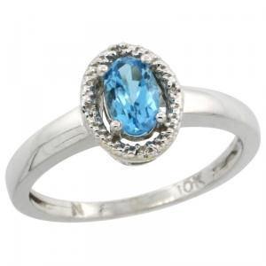 10k White Gold Halo Engagement Swiss Blue Topaz Ring with Brilliant Cut Diamonds & Oval Cut Stone.