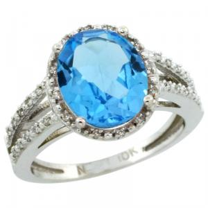 10k White Gold  Halo Engagement Swiss Blue Topaz Ring with Brilliant Cut Diamonds & Oval Cut Stone