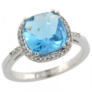 Halo Engagement Swiss Blue Topaz Ring with Brilliant Cut Diamonds & Cushion Cut Stone