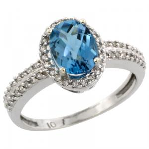 Halo Engagement London Blue Topaz Ring with Brilliant Cut Diamonds & Oval Cut Stone