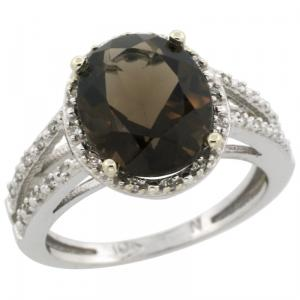Halo Engagement Smoky Topaz Ring  Brilliant Cut Diamonds & Oval Cut Stone