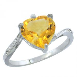 14k White Gold Ladies Natural Citrine Ring Heart-shape 9x9 Stone Diamond Accent