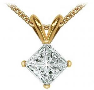 1 ctw Princess cut Diamond Solitaire Pendant. .This 14K yellow gold solitaire pendant has one princess cut diamond in a prong setting. The box chain is 18.0 inches in length and has a spring-ring clasp.