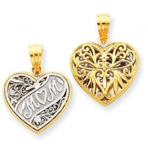 14k Two-tone Mini Reversible Mom Heart Pendant