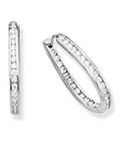 Oval shape hoops with channel set CZ