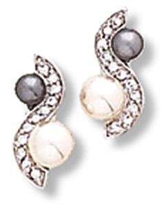 S-Shape Earring with Imitation White and Grey Pearl