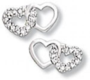 Plain and Clear CZ Double Heart