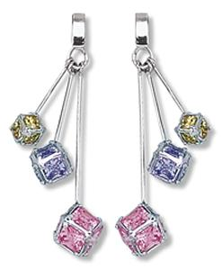 Yellow, Lavender and Pink Square CZ Cube Dangle Earring