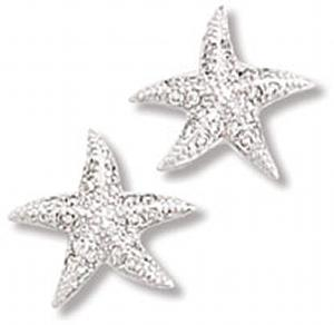 Detailed Starfish with Clear CZ Earring