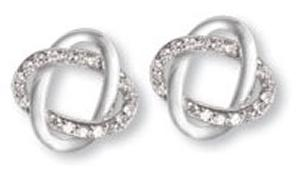 Interlocking Oval Earring with Clear CZ