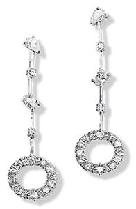 Earrings with Circle and Multi-Shaped White CZ