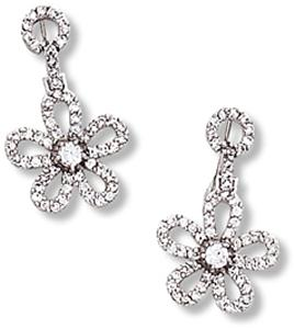 Circle and Flower Dangle Earring with Clear CZ