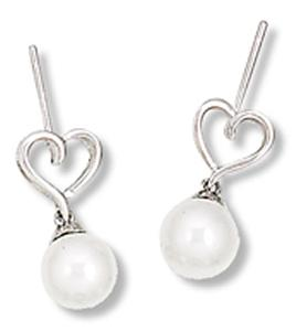 Earring with Heart and White Pearl Drop