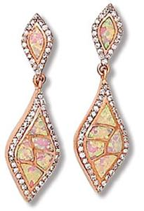 Lab Opal Mosaic Design with Rose Gold Tone and Clear CZ