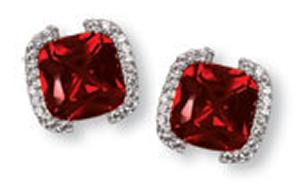 Cushion Cut Red Colored CZ with Clear CZ (3A Quality) Earring