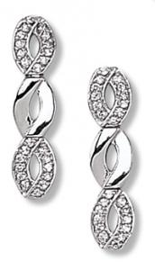 Oval Interlocking Design with Clear CZ Earring